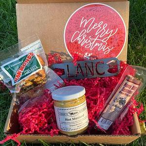 Men's Lancaster Christmas Box with pretzels, hot mustard, beef stick and Lanc bottle opener.