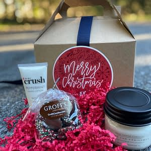 Women's Holiday Box with chocolate candies, lotion and candle