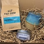 The coffee box featuring Fat Cow Coffee, handmade mug and coffee scented candle